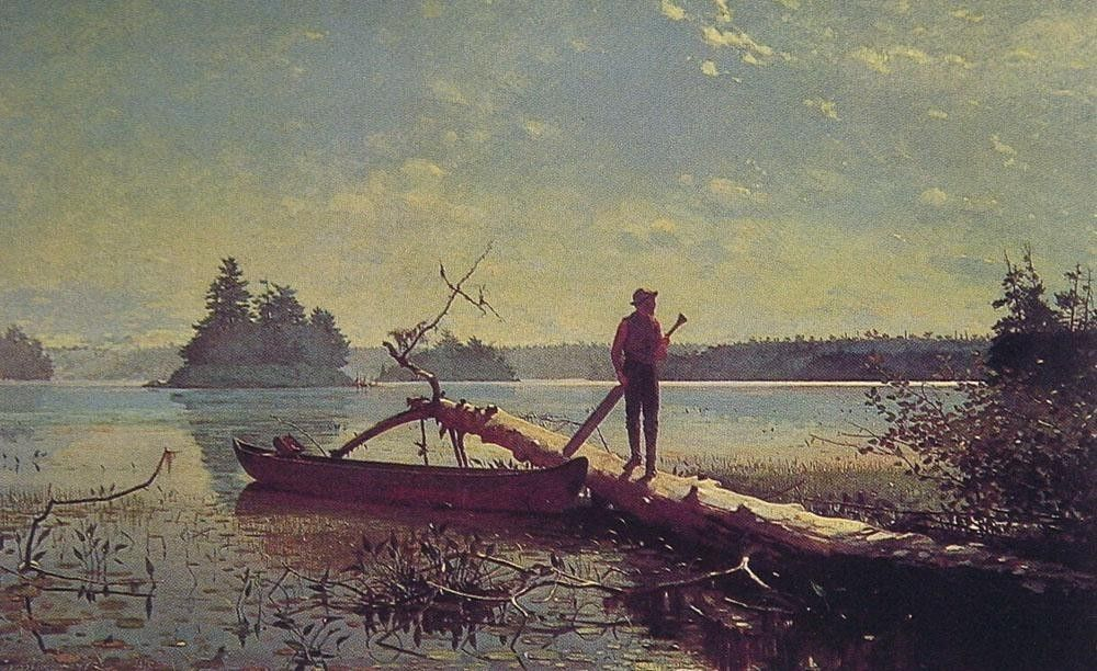 Winslow Homer An Adirondack Lake