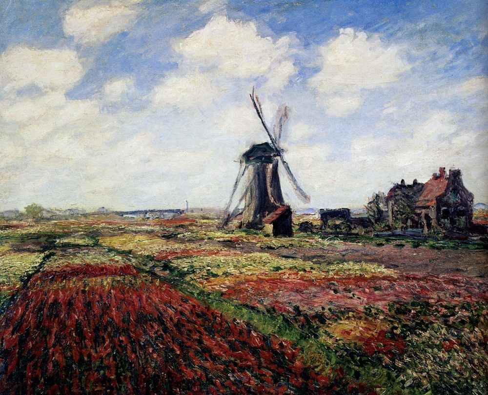 Claude Monet Tulip Fields With The Rijnsburg Windmill