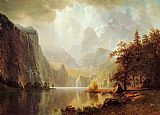 Landscape paintings - In the Mountains by Albert Bierstadt
