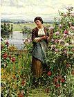 Daniel Ridgway Knight Julia among the Roses painting