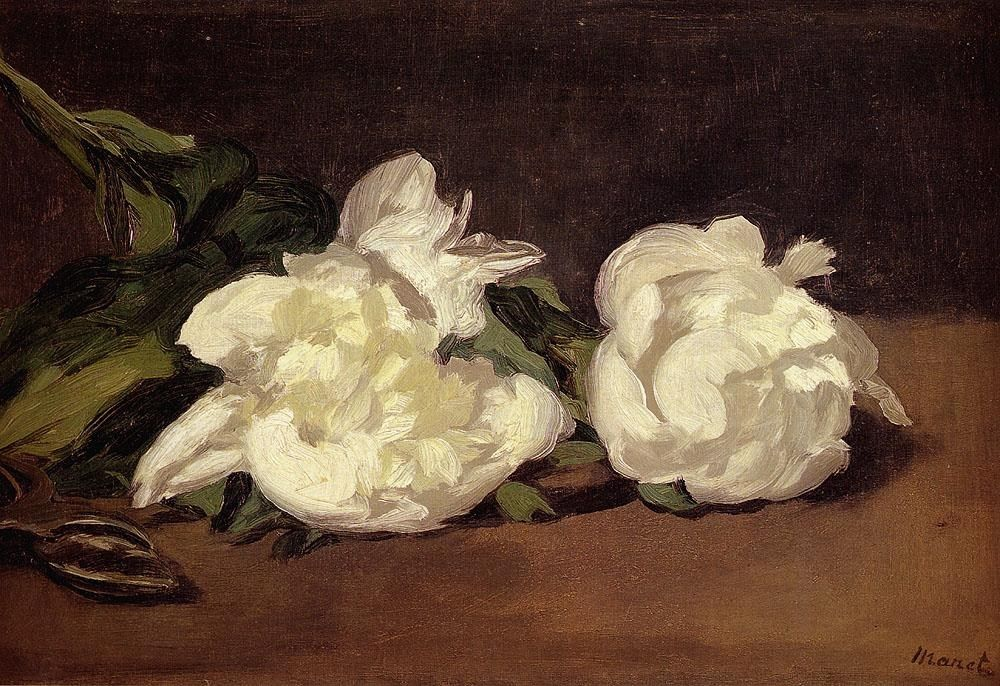 Edouard Manet Branch Of White Peonies With Pruning Shears