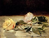 Floral paintings - Two Roses On A Tablecloth by Edouard Manet