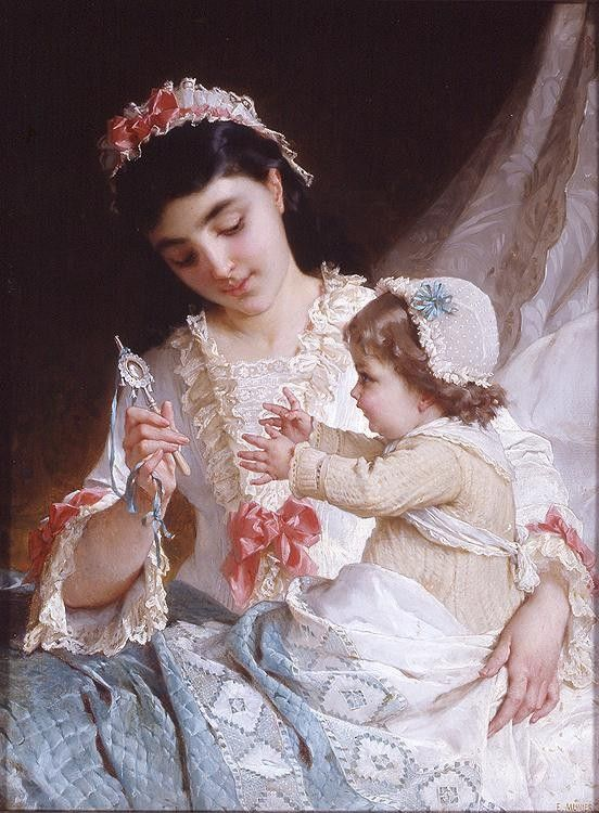 Emile Munier Distracting the Baby