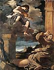 Angel paintings - St Francis with an Angel Playing Violin by Guercino
