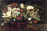 Still Life paintings - Basket of Flowers by Gustave Courbet