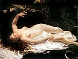 Nude paintings - Woman with a Parrot by Gustave Courbet