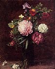 Still Life paintings - Flowers Large Bouquet with Three Peonies by Henri Fantin-Latour