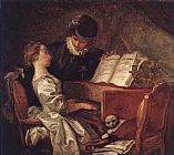 Piano paintings - Music Lesson by Jean-Honore Fragonard