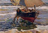 Boat paintings - Beaching the Boat (study) by Joaquin Sorolla y Bastida