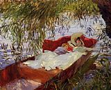 John Singer Sargent Two Women Asleep in a Punt under the Willows painting