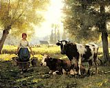 lanie loreth summer rain Paintings - A Milkmaid with her Cows on a Summer Day