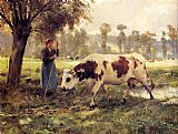 Julien Dupre Cows At Pasture painting