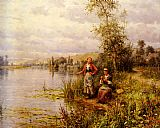 Louis Aston Knight Country Women Fishing on a Summer Afternoon painting