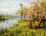 Louis Aston Knight Country Women after Fishing on a Summer's Day painting
