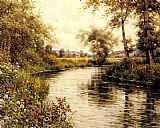 Louis Aston Knight Flowers in Bloom by a River painting