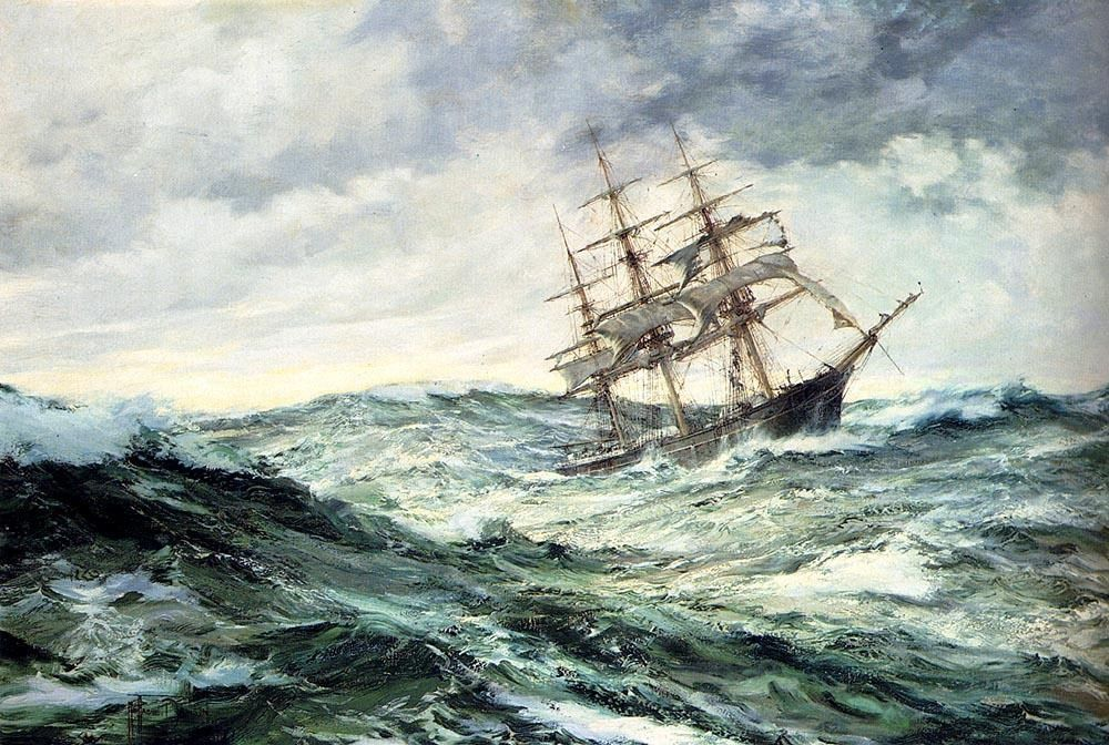 Montague Dawson A Ship In Stormy Seas