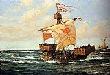 Montague Dawson Legion Boat -- The First Queen painting