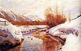 Peder Mork Monsted A Mountain Torrent In A Winter Landscape painting