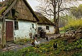 Peder Mork Monsted Bromolle Farm with Chickens painting