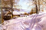 Peder Mork Monsted On The Snowy Path painting