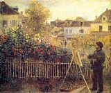 the garden of prayer Paintings - Claude Monet Painting in his Garden at Argenteuil