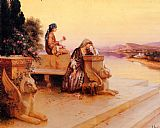Rudolf Ernst Elegant Arab Ladies on a Terrace at Sunset painting