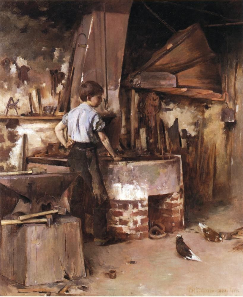 Theodore Robinson The Apprentice Blacksmith