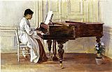 Piano paintings - At the Piano by Theodore Robinson