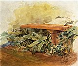 Theodore Robinson Garden Bench with Ferns painting