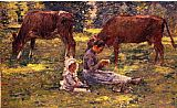 Theodore Robinson Watching the Cows painting