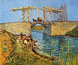 Landscape paintings - The Langlois Bridge at Arles with Women Washing by Vincent van Gogh