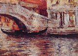 Venice paintings - Gondolas Along Venetian Canal by William Merritt Chase