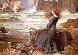 Seascapes paintings - Miranda - The Tempest by John William Waterhouse