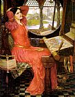 lady in pink Paintings - said the Lady of Shalott