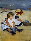 Mary Cassatt Children on the Shore painting
